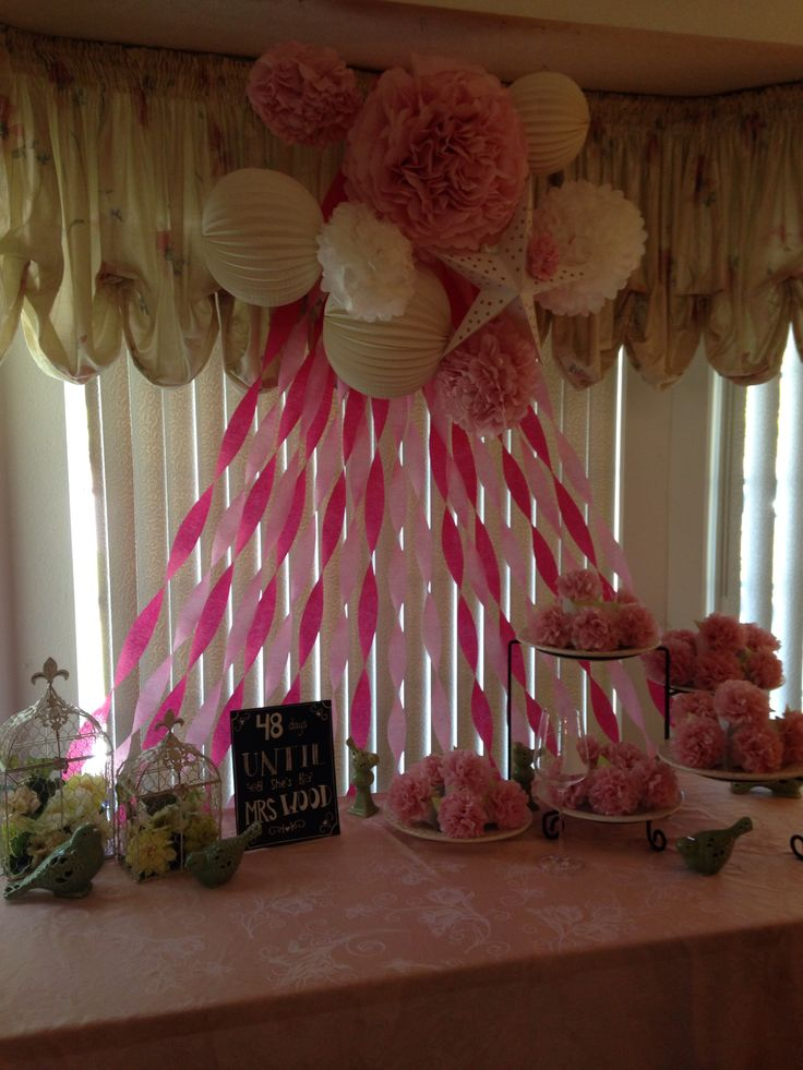 Bridal shower decor for my friends pinterest bridal for How to decorate for a bridal shower at home