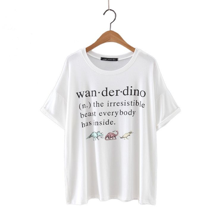 women cute dinosaurs & letters loose T shirt short sleeve o-neck basic white tees ladies summer casual tops Camisetas DT750