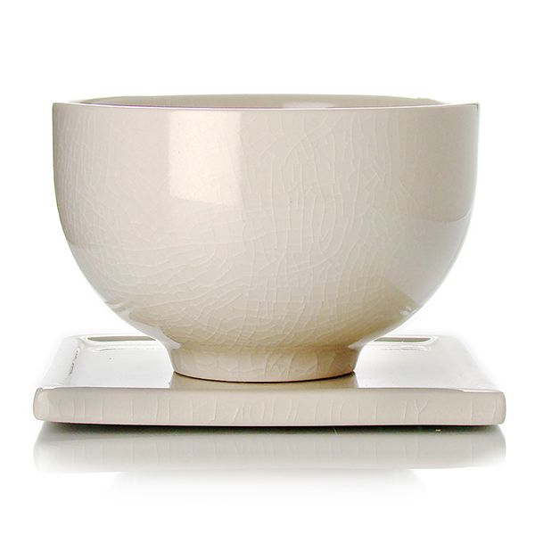 TAIPING - Stoneware tea cup & saucer - ivory enamel