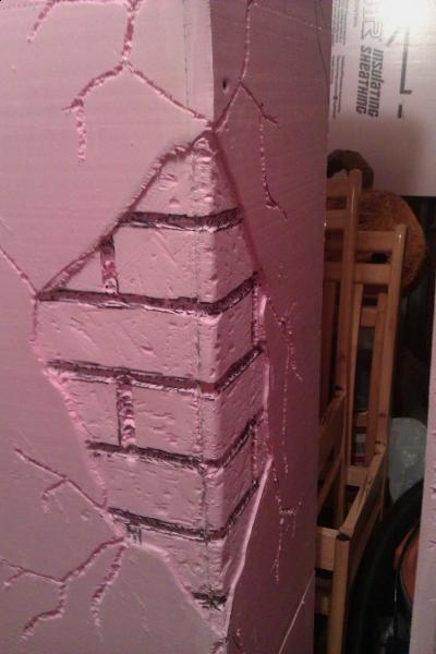 Inspiration.. Foam faux brick breakaway column.  Nice!!