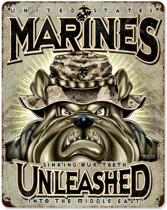 Vintage and Retro Wall Decor - JackandFriends.com - Vintage USMC Unleashed Metal Sign, $39.97 (http://www.jackandfriends.com/vintage-usmc-unleashed-metal-sign/)