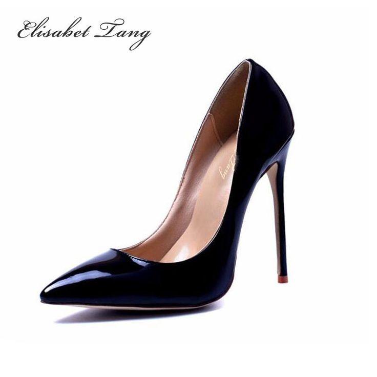 Марка Обуви Женщина Высокие Каблуки Насосы Красный Высокие Каблуки 12 СМ женская Обувь Высокие Каблуки Свадебная Обувь Насосы Черный Ню Обувь каблуки