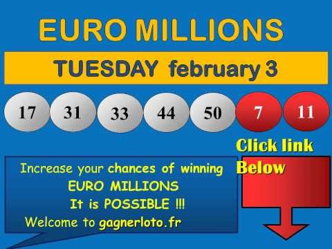 Results Euromillions Tuesday february 3 winning numbers