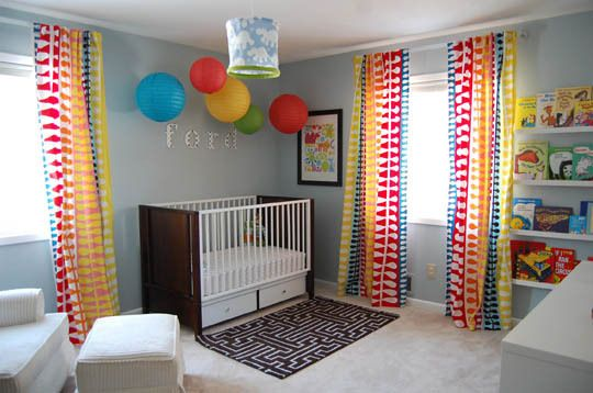 Looking for a boys color palette that goes with Curious George, Mickey Mouse, and Avengers? This is it - grey walls, primary colors, Ikea Ribba Picture ledges for books. Replace these curtains with Red/White stripes, complement room with grey & yellow sheets and rug.