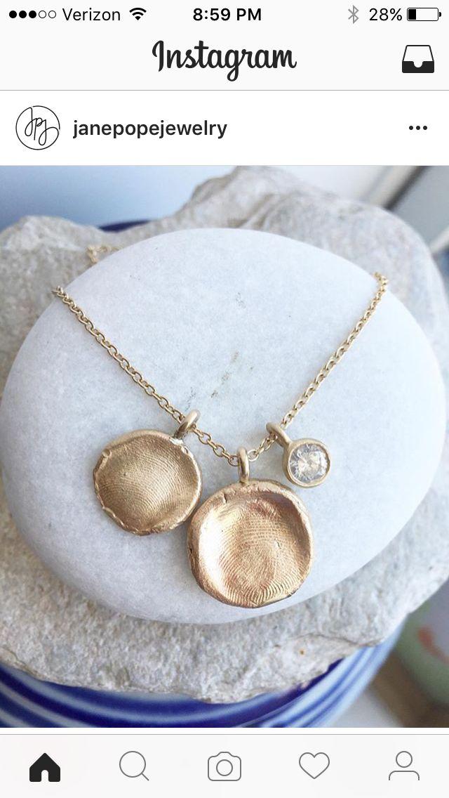 Baby fingerprint necklaces