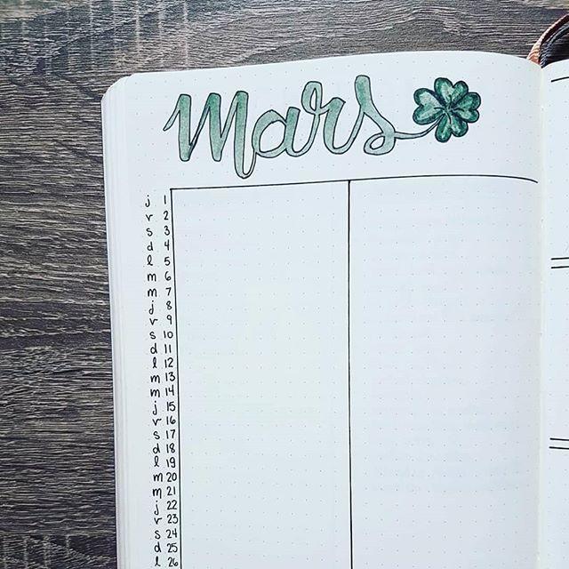 Zoom sur ma page du mois de mars. Monthly log du mois de mars dans mon Bullet Journal!