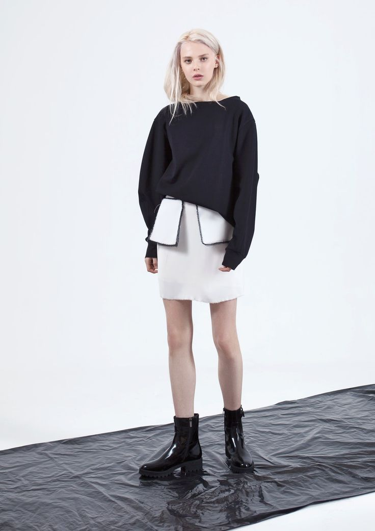 white skirt with contrast pockets