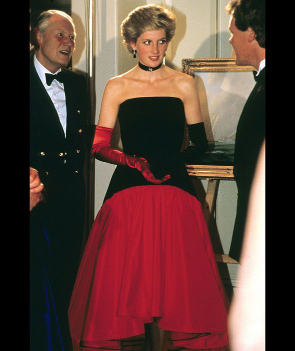 Diana is photographed wearing a Murray Arbeid flamenco dress with one red glove and one back glove, which will be featured in the exhibition 'Diana: Her Fashion Story'