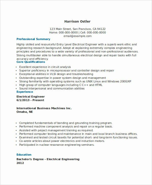 Entry Level Electrical Engineer Resume New Free Engineering Resume Templates 49 Free Word Pd Engineering Resume Engineering Resume Templates Job Resume Samples