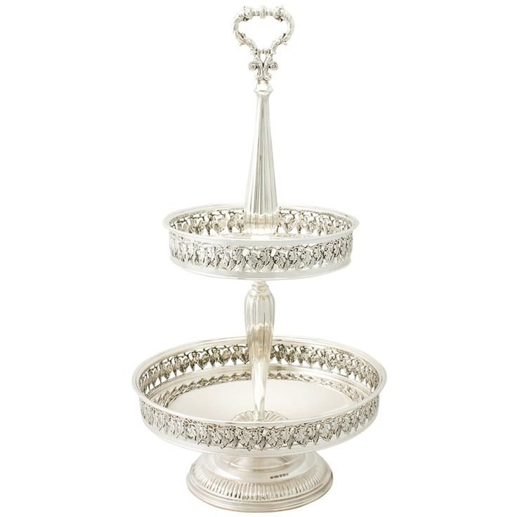 Sterling Silver Cake Stand or Centrepiece, Contemporary Elizabeth II | From a unique collection of antique and modern sterling silver at https://www.1stdibs.com/furniture/dining-entertaining/sterling-silver/