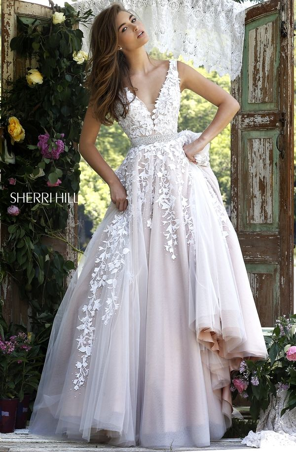 White tulle Style 11335 evening dress with leaf and sparkle detail (Sherri Hill)