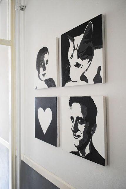 Dutch Design on a Budget: DIY: Zwart/Wit Portretten Schilderen!
