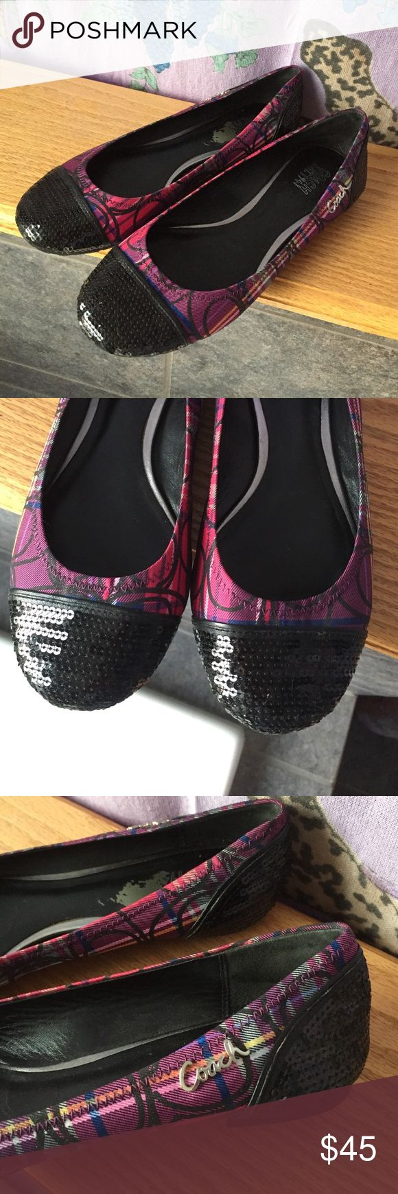 Coach flats Hardly ever worn! Super cute Coach flats with sequin toes and pink and purple plaid pattern. Coach Shoes Flats & Loafers
