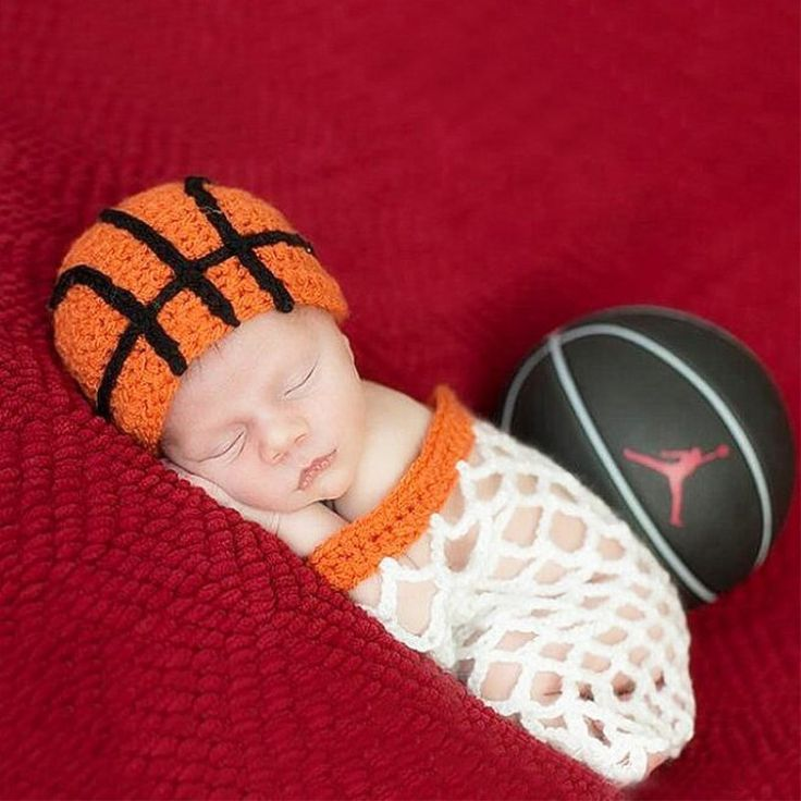 Lovely Newborn Baby Photography Props Crochet Knitting Baby Basketball Costume Handmade Baby Boys&Girls Photografia Costume Set