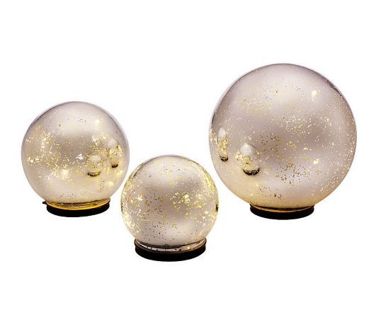 Qvc Outdoor Wall Lights: Silver Lighted Glass Spheres. QVC- Valerie Parr Hill
