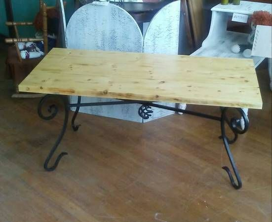 Handmade reclaimed wood and black wrought iron coffee table for sale at Frugal Fortune, Lakewood, Ohio 44107. Nationwide shipping available.