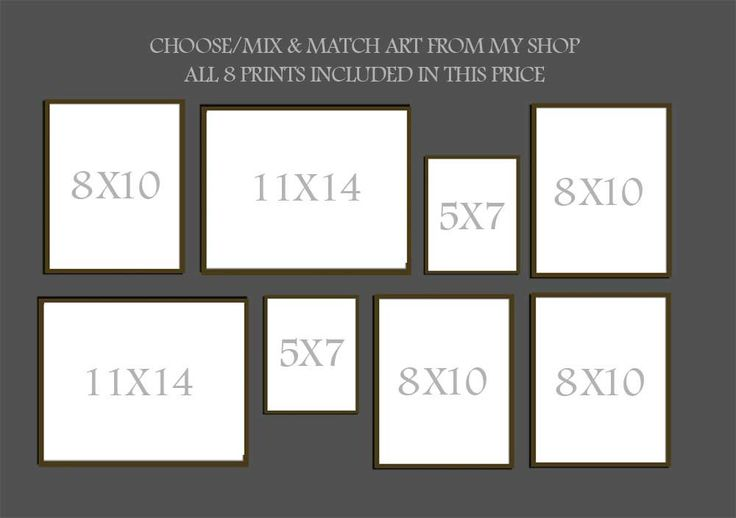 Mix and Match Art, Gallery Wall - Set of 8, Mixed Sizes, Choose any Art in my shop. $64.00, via Etsy.