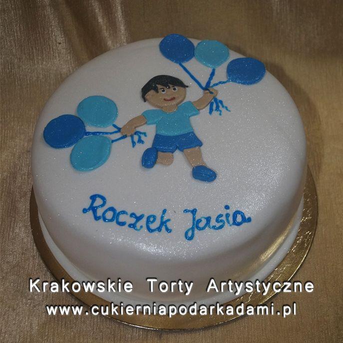 110. Biały tort na roczek. White cake for 1st birthday.