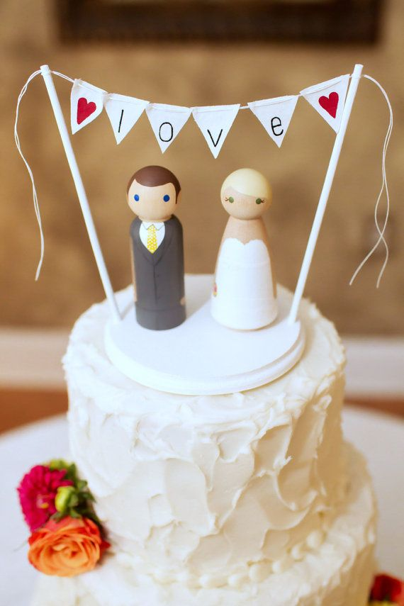 Custom Wedding Cake Toppers w/ Base and Banner - Hand Painted Wood Peg Doll Cake Toppers