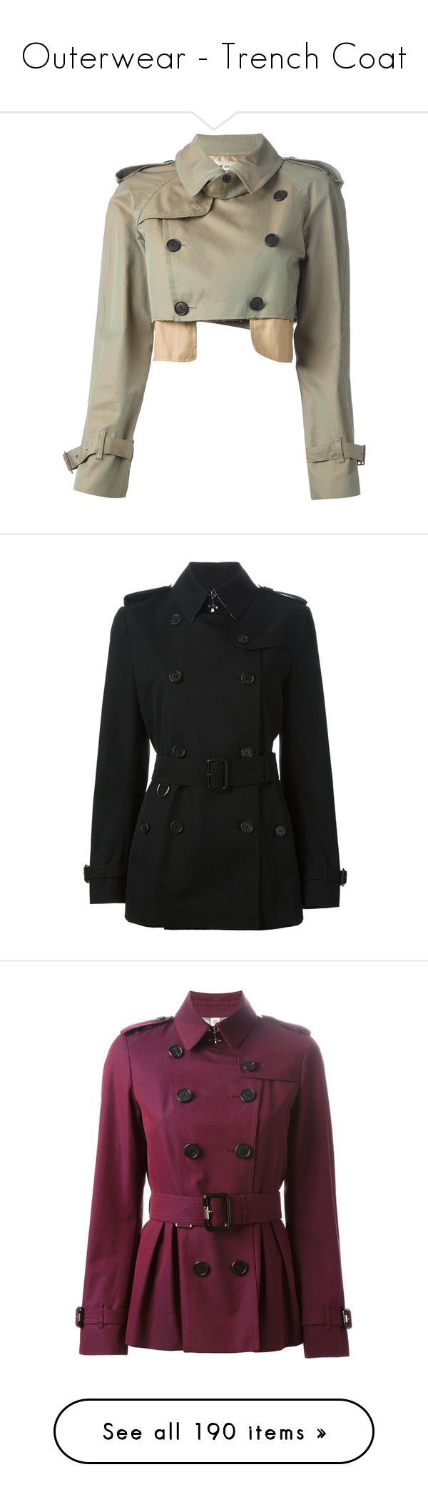 """""""Outerwear - Trench Coat"""" by giovanna1995 ❤ liked on Polyvore featuring Burberry, outerwear, coat, Trench, coats, jackets, coats & jackets, green, brown trench coat and short coat"""