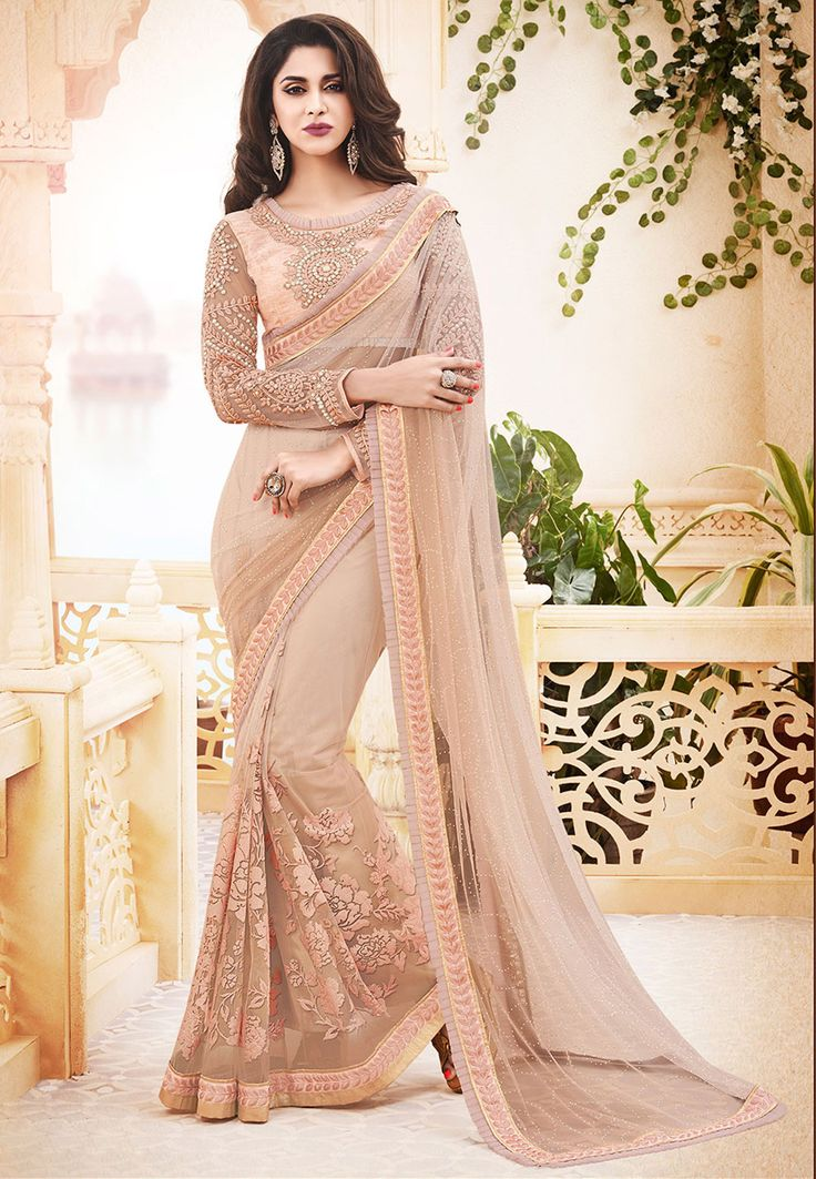 Buy Peach Net Saree with Blouse online, work: Embroidered, color: Peach, usage: Wedding, category: Sarees, fabric: Net, price: $117.50, item code: SWS4957, gender: women, brand: Utsav