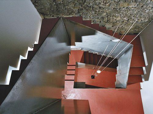 Halbgewendelte-Treppe / gera Stufen Metall / für Geschäftsgebäude / Wangen Columbus