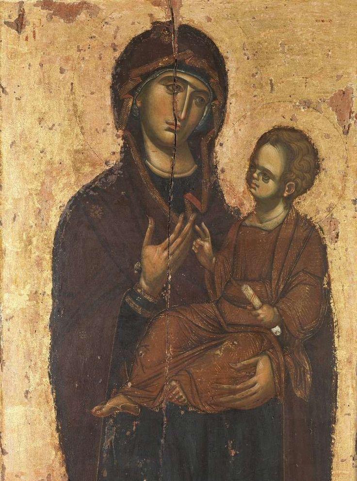 la Vierge Hodegetria (Détail). Icône du XIVe siècle. © Monastère de Vatopedi. Exposition Trésors du Mont Athos, Paris, Petit Palais, 2006