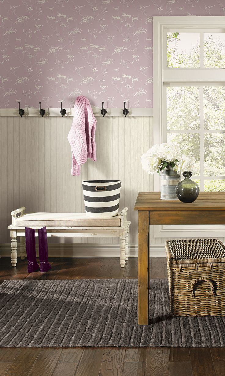 Beautiful Mudroom Featuring Candice Olsons Enchanted Wallpaper From Modern Luxe With A Look As Soft