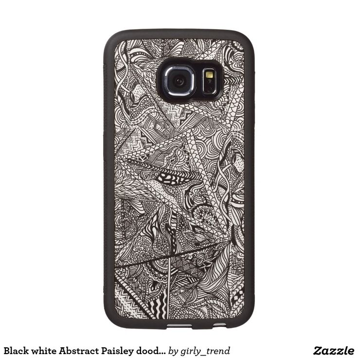 Black white Abstract Paisley doodle geo pattern Wood Phone Case