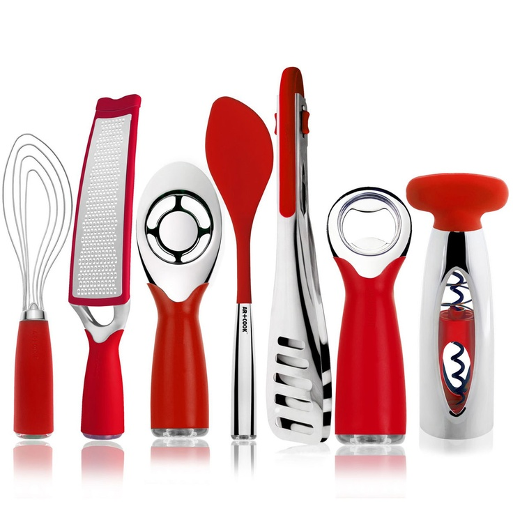 Choose from red, green or black. Beef up your kitchen accessories collection with this seven-piece tool set. This matching gadget collection includes nine-inch locking tongs, a cork pull, spoon spatula, yolker, long grater, flat whisk, and bottle opener. All tools are sturdy chrome stainless steel with Art and Cook's soft, non-slip handle. On sale for $52. Ends 3/18/13.