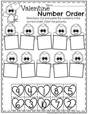 Preschool Valentine's Worksheets - Number Order #valentines #preschoolworksheets #preschool #worksheets
