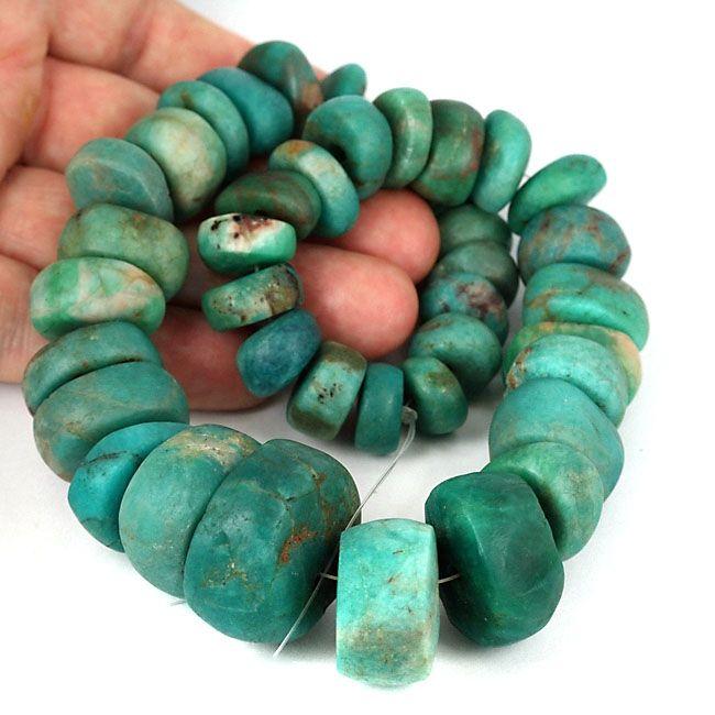 23 x 15 mm Tribal Ancient amazonite stone bead Morocco ethnic jewelry