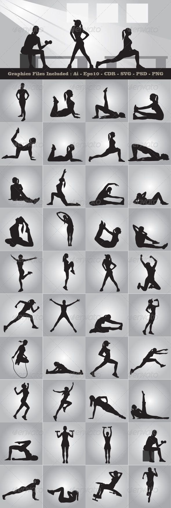 Female Training Silhouettes - Sports/Activity Conceptual