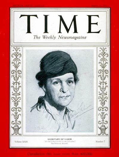 TIME Magazine Cover: Frances Perkins - Aug. 14, 1933 - Politics