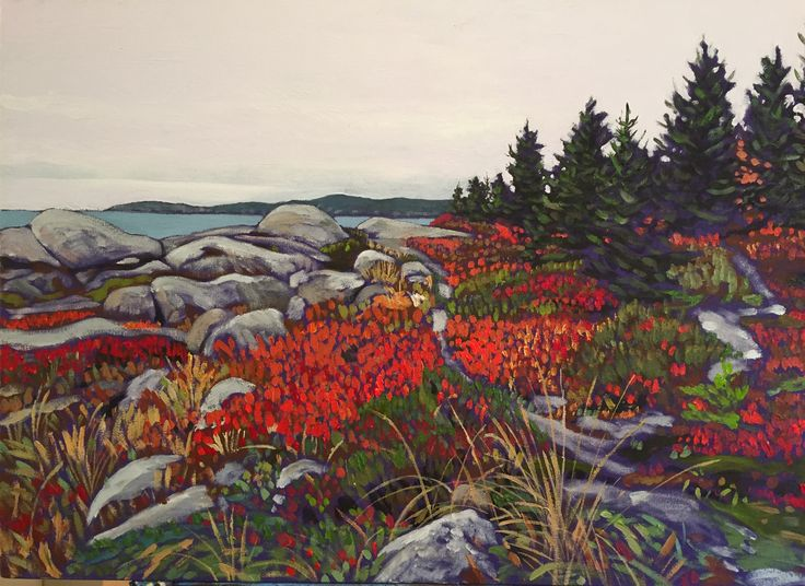Nova Scotia Coast, blueberry-huckle berry red leaves, near Herring Cove. Jeremy Vaughan painting