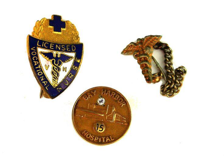 Vintage Nurse Nursing Pins 15 Years Of Service Bay Harbor Hospital 10K Gold Etc.