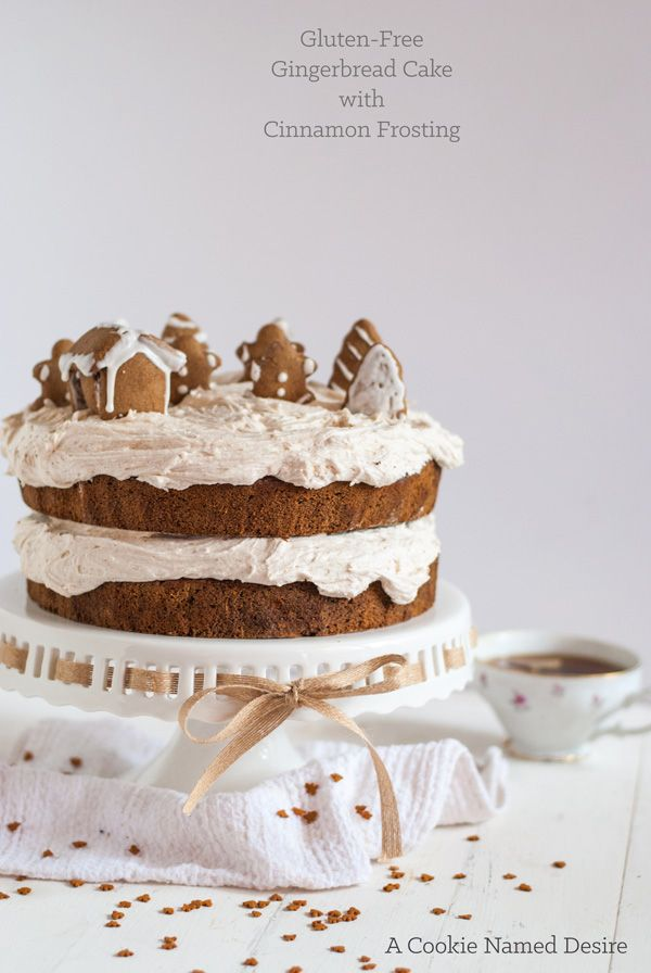 Gingerbread cake with cinnamon buttercream (gluten-free). This cake is so moist and has a wonderful ginger flavor from a mix of fresh and ground ginger, plus a secret ingredient! You honestly can't tell this is gluten-free and you can easily use all-purpose flour if you want!
