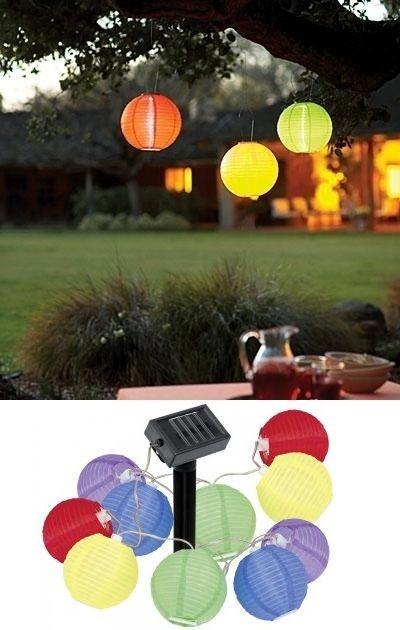 Vidám, színes, LED-es, napelemes, mini lampion füzér. Napelemes működésű, így nem szükséges hálózati kábelezés. A beépített NiMH