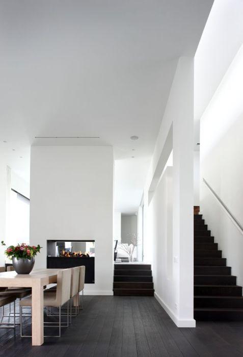 black floor black stairs