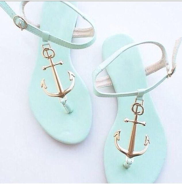 Teal anchor sandals