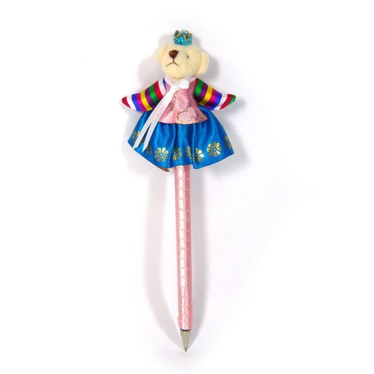 Wear Korean Traditional Dress Blue Skirt Cute Bear Doll Long Ballpoint Pen Gift  #Jacc