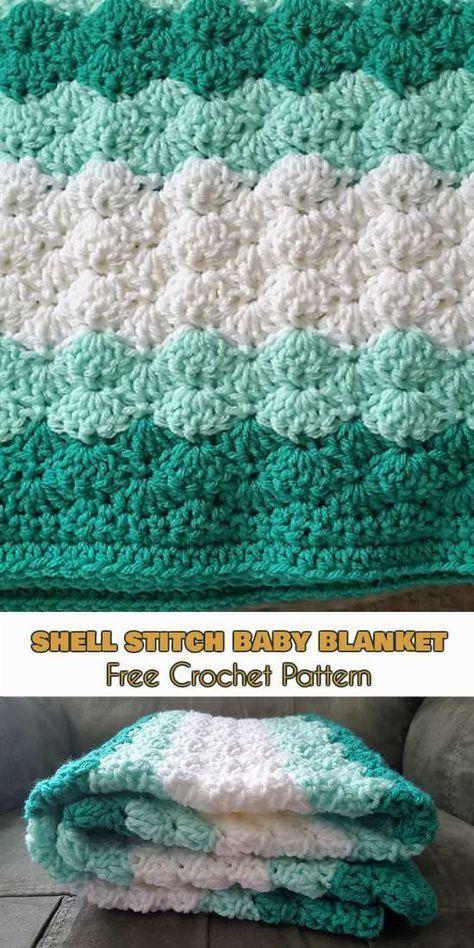 Shell Stitch Baby Blanket [Free Crochet Pattern]