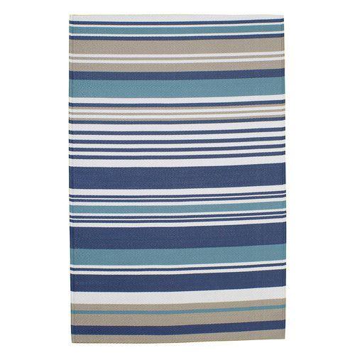 Tappeto blu a righe da esterno in polipropilene 120 x 180 cm ESCALE