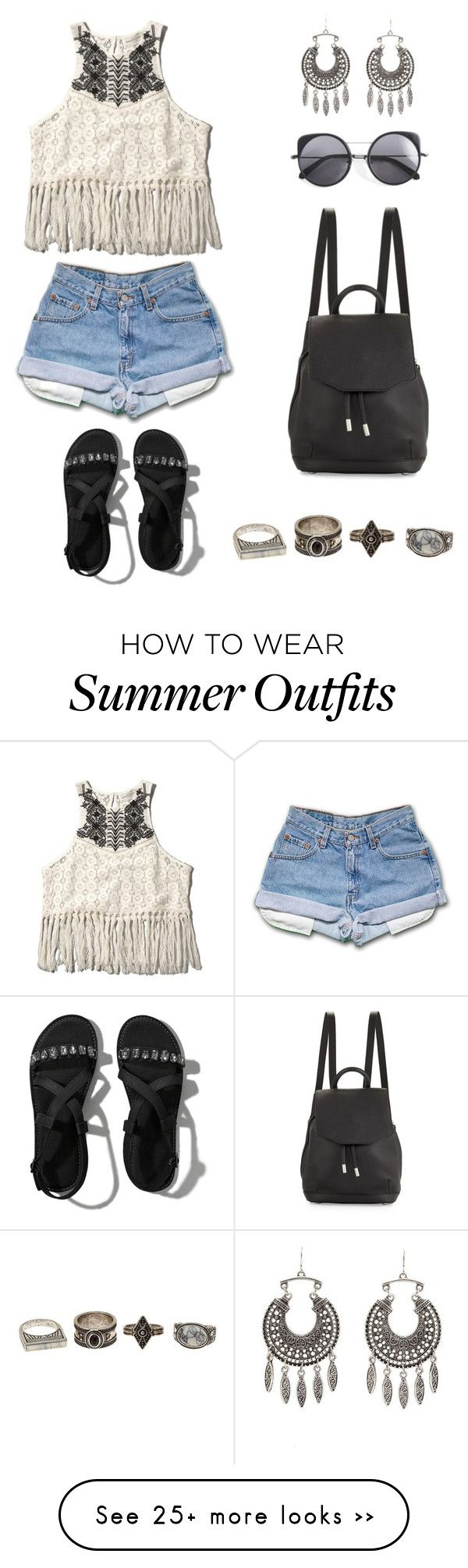 """End of summer outfit"" by snhollick on Polyvore featuring Abercrombie & Fitch, rag & bone, Charlotte Russe and Wood Wood"