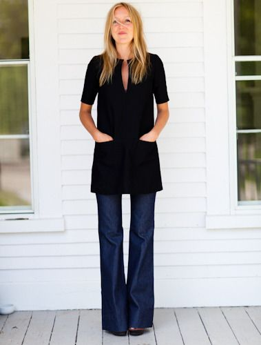 Emerson Fry black tunic and wide legged jeans via Isabella & Max