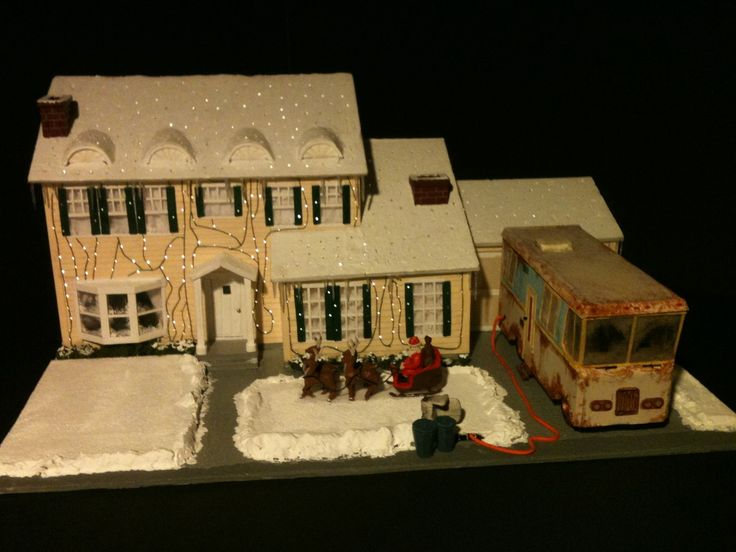 """Its a scratch scale model of the Grizwold House from the holiday classic """"National Lampoon's Christmas Vacation""""."""