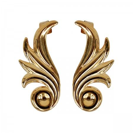 Lacrom Store || Claudia Baldazzi, Accessories, Ermes Ear Cuff  Large fire wings in golden (24kt) brass, silver back-welded pins and ear hooks