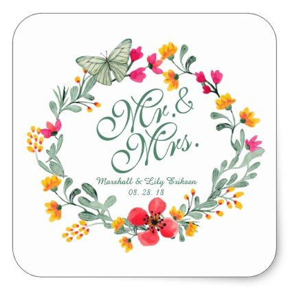 Mr. & Mrs. Elegant Floral Wedding | Sticker Seal - wedding stickers unique design cool sticker gift idea marriage party