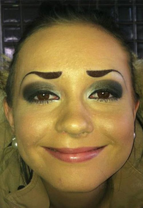More of the Worst Eyebrows Ever! Pretty bad make-up jobs! Funny, these dolts think they look good! Wouldn't be caught in public with these horrible awful brows?
