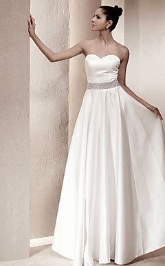 A-line Princess Strapless Floor-length Satin Wedding Dress i... – USD $ 129.99
